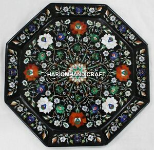 """18"""" Black Marble Coffee Table Top Multi Floral Stone Inlay Interior Decors H4418"""