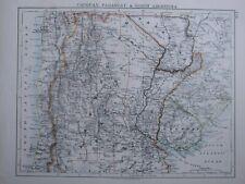 1916 Map Uruguay Paraguay & North Argentina Mendoza San Juan