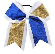 "NEW ""GLITTER DUO Blue Gold"" Cheer Bow Pony Tail 3"" Ribbon Girl Hair Cheerleading"