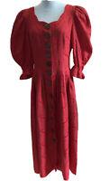 Berwin & Wolff Trachten Kleid Landhauskleid Gr.38 Folklorekleid Rot Stickerei