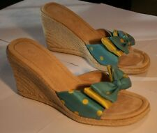 Unisa Polka Dot Open Toe Espadrille Wedges Shoes w/ Bow Size 6 1/2 FREE SHIPPING