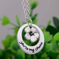 Silver Plated 'You'Re My Ohana' Lilo Stitch Flower Family Necklace Faddish Nice