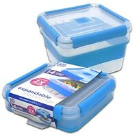 Airtight Lunch Cube Container Microwave Safe Food Store Box Salad Set 14 Cup New