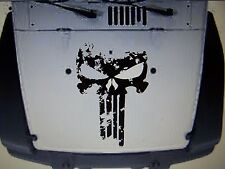 JEEP WRANGLER DISTRESSED PUNISHER SKULL HOOD DECAL JK JKU TJ YJ CHOOSE COLOR