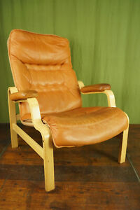60er Vintage Armchair Retro Leather Easy Chair Cognac Westnofa Rykken Age