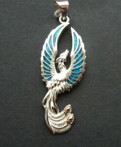 PHOENIX PENDANT  sterling silver inlaid PAUA SHELL - Firebird.  by Peter Stone