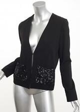 CHLOE Womens Black Long-Sleeve Lightweight Sequin Pocket Blazer Jacket S