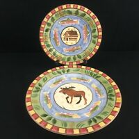 Salad and Dinner Plate by Bella Ceramica Timberline Handpainted Moose Cabin Fish