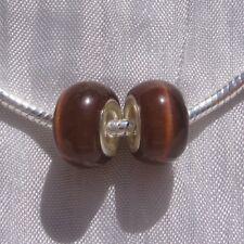 2 perles semi-précieuses donuts rondelles oeil de chat marron 14x8mm *N50