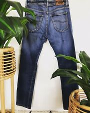 Mens Lee Jeans Size 30 Blue Wash Button Fly Slim Low Waist 5 Pockets Leather Tag