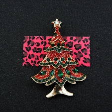 Christmas Trees Charm Brooch Pin Betsey Johnson Green/Red Enamel Crystal Cute