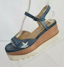 Stella McCartney Star Vegan Wedge Sandals Platform Blue Ankle Strap EU 37.5 US 7