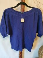Guess I Love 81 women's sweater M blue color batwing sleeves boat neck NWT