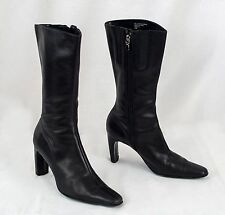 Black Leather Boots High Heel Mid Calf Zip Up Womens Size 8.5M Indeed