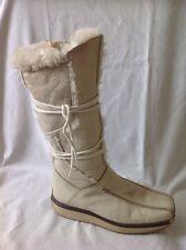 Tamaris Cream Mid Calf Leather Boots Size 38