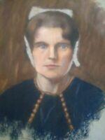 Unique grand pastel portrait jeune femme bretonne Bretagne années 20 - 30