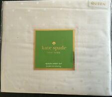 Kate Spade Queen Sheet Pillowcase Larabee Polka Dot Light Dove Gray 4 Piece Set