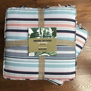 Tommy Bahama Indoor Outdoor Seat Cushions Set of 4 Multicolor Striped 18x18 NEW