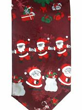 "Renaissance Men's Holiday Novelty Tie 55.5"" X 4.25"" Santas & Elves & Tree Oh My"