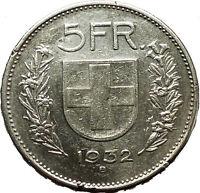 Switzerland  1932AD Big Silver Antique 5 Francs Coin i40355