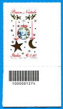 2009 francobollo Natale Laico CON CODICE A BARRE 1274