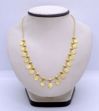 22K Solid Yellow Gold Bead Blast Finish Coin Disc Dangle Statement Necklace