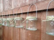 Hanging glass shabby chic mason jar tea light candle vase lantern heart wedding