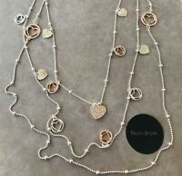 UK Ladies Designer Long Silver And Rose Gold Heart Charm Necklace Jewellery