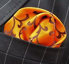 Hankie Pocket Square Handkerchief Deep Orange with Brown Swirl