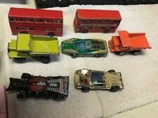 Vintage Cast Metal Dump Trucks, Race Cars, Londoner Buses Lot of 7