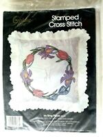 Golden Bee Iris Ring Pillow Stamped Cross Stitch Kit 20373 flowers embroidery