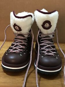 Moncler Inaya Shearling-Trimmed Rubber Ankle Boots • Size 35 (US 4.5- 5.0) New