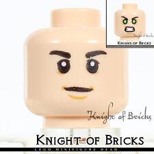 LEGO Minifigure Head LIGHT FLESH Male Boy Dual Sided Neutral / Green Eyes Angry