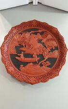 chinese carved cinnabar and black lacquer plate