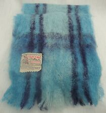 "GLEN CREE BLUE PLAID MOHAIR SCARF MADE IN SCOTLAND 9"" X 60"""