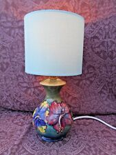 """VINTAGE STAMPED MOORCROFT TABLE LAMP PERFECT CONDITION GWO 12"""" TALL inc SHADE"""