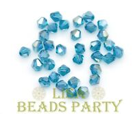 100pcs 4mm Bicone Faceted Crystal Glass Loose Spacer Beads Peacock Blue AB