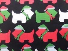 Jingle 3 Scotty Dog Christmas Holiday Robert Kaufman Cotton Fabric Yard