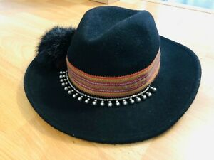 Zara Accessories Stunning Wool Fedora Hat, with Beads, Pom Pom, Size Medium!