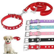 Rhinestones Diamante Pet Puppy Cat Small Dog Collar and Lead Chihuahua XXS XS S