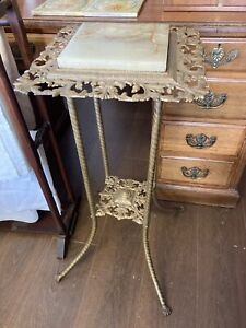Vintage Brass/metal Plant Stand With Onyx Top