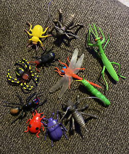 Vintage Bugs Toy Plastic Rubber Mini Figures Insects Realistic Lot of 11