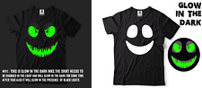 Halloween Glow in the dark Smiley Face evil face Creative Funny Costume Tee