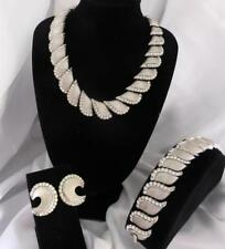 VTG TRIFARI Silver-Tone Textured & Rhinestone SET NECKLACE, BRACELET, EARRINGS