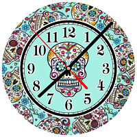 """8"""" WALL CLOCK Sugar Skull #17 Dia de los Muertos Day of the Dead Halloween"""