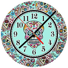"8"" WALL CLOCK Sugar Skull #SN29 Dia de los Muertos Day of the Dead Halloween"