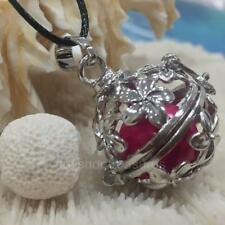 Aromatherapy oil Diffuser Necklace White Lava - Fuchsia Pink Harmony Chime Ball