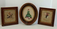 Vtg Framed Needlepoint Wall Art 3 Victorian Style Pictures Oval & Square Shaped