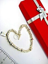 """Sterling Silver Bracelet Circle Beads with Charm Dangle Toggle Clasp 7"""" x 10mm"""