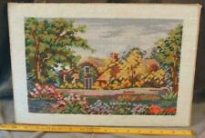 """Vintage Completed Wool Needlepoint Picture """" Cottage in the Woods with Flowers"""""""